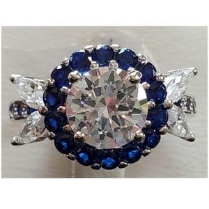 Genuine 8ct Blue & White Sapphire Ring Size 8